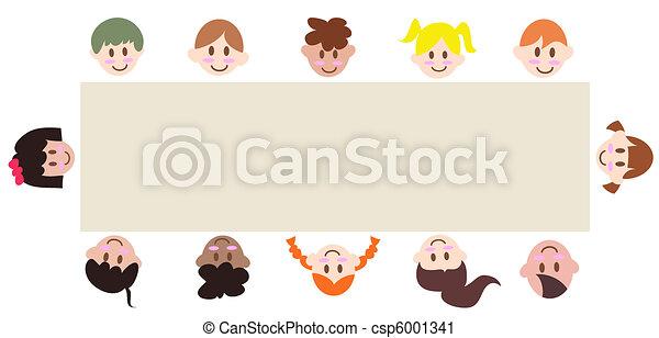 multicultural children around a blank banner  - csp6001341