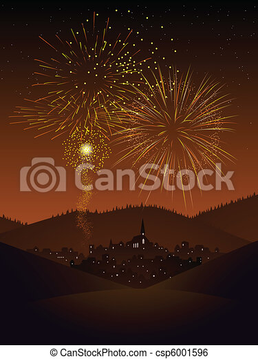 Fireworks over a village - csp6001596