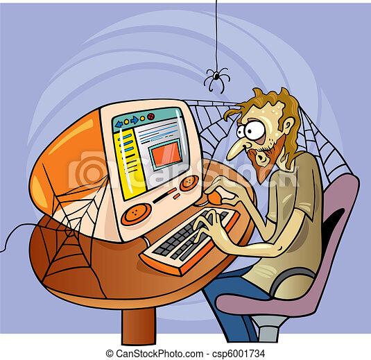 EPS Vector of internet maniac - cartoon illustration of ...