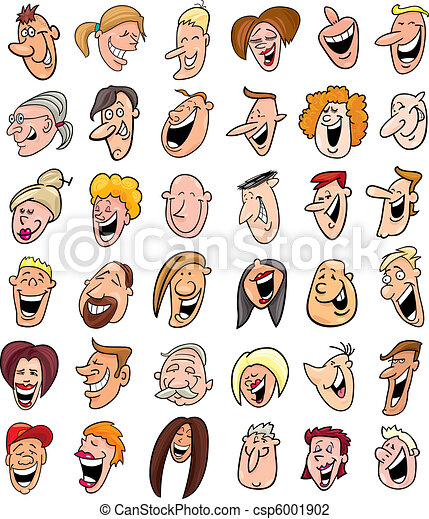huge set of laughing people faces - csp6001902