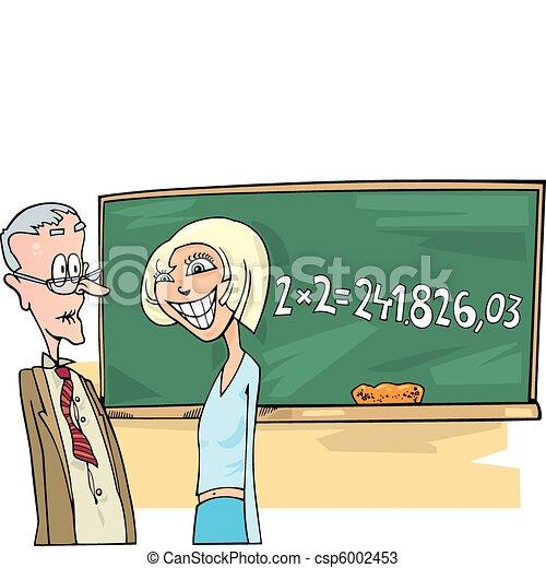 School girl with math problem - csp6002453