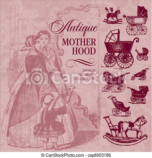 antique motherhood set (vector) - csp6003186
