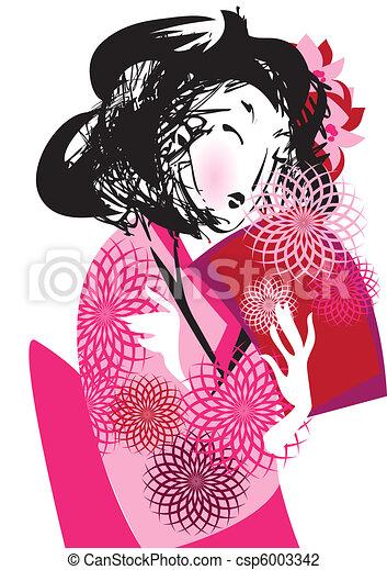 Japanese woman in kimono - csp6003342