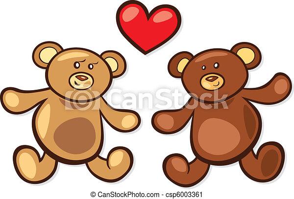 Vector Clip Art de teddy, osos, amor - caricatura, Ilustración ...