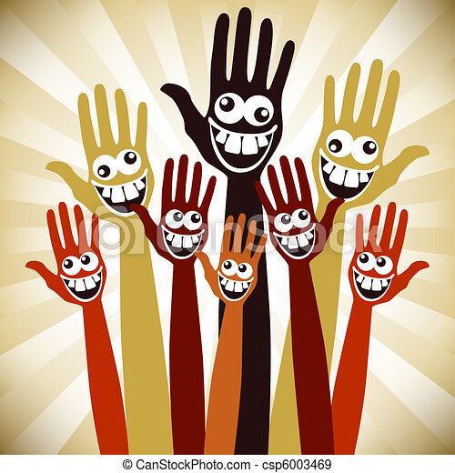 EPS Vectors of Crazy face hands design. - Hands with crazy faces ...