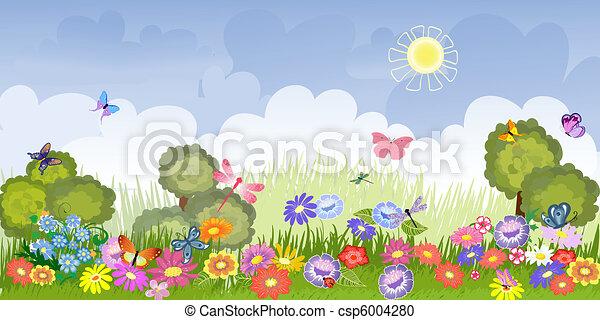 Panorama floral lawn - csp6004280