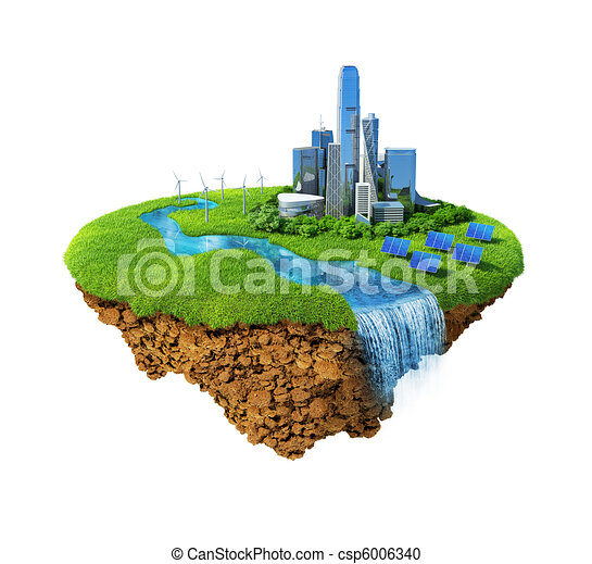 Eco city concept. Cityscape on a lawn with river, waterfall. Fancy island in the air isolated. Detailed ground in the base. Concept of success and happiness, idyllic modern harmony lifestyle. - csp6006340