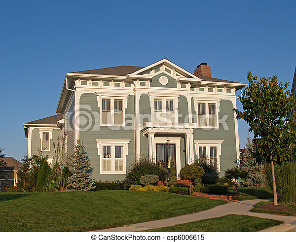 Two Story New Historical Styled Hom - csp6006615