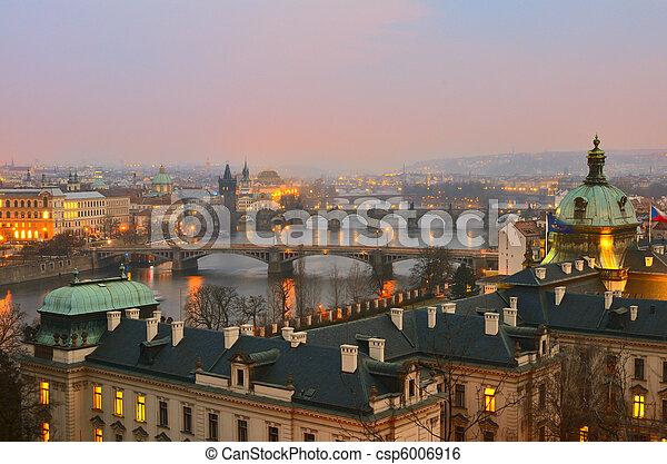 View on Prague bridges at sunset - csp6006916