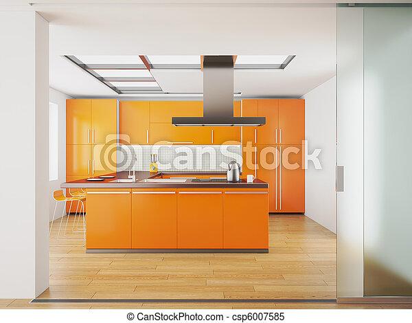 Photo int rieur moderne orange cuisine image for Maquette cuisine 3d
