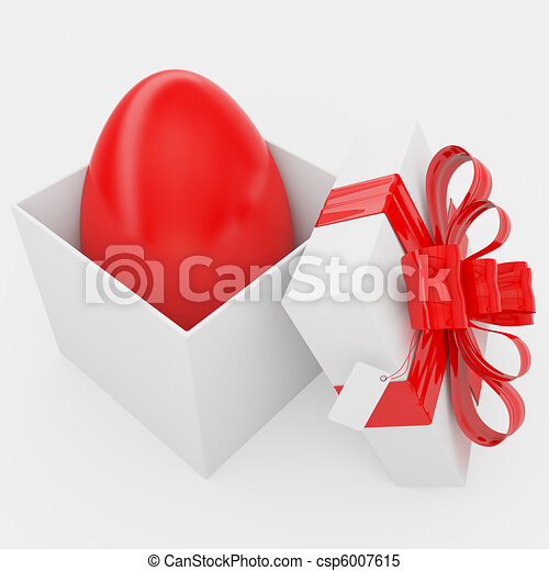 Gift box with Easter red egg - csp6007615