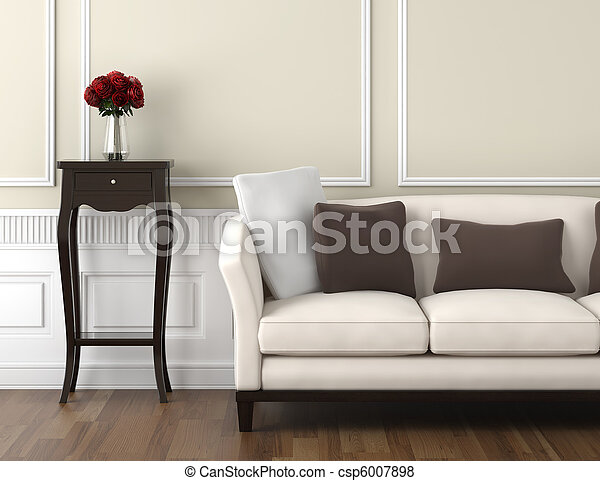 beige and white classic interior - csp6007898