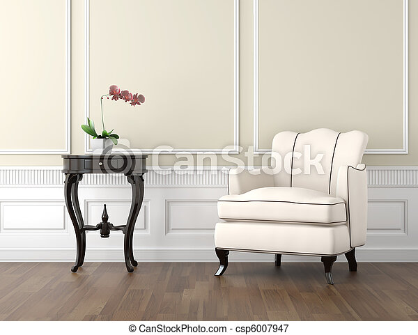 beige and white classic interior - csp6007947