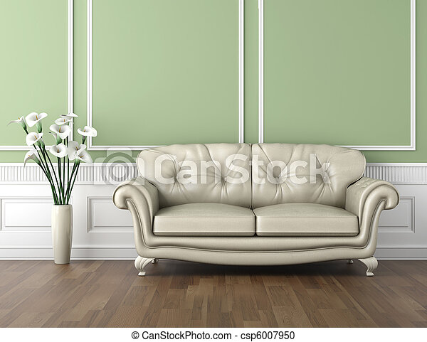 green and white classic interior - csp6007950