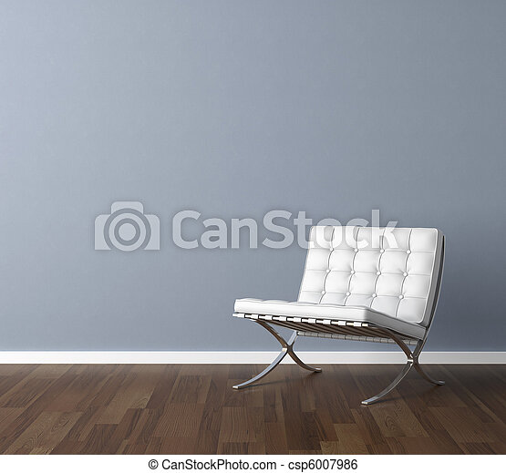 blue wall with white chair interior design - csp6007986