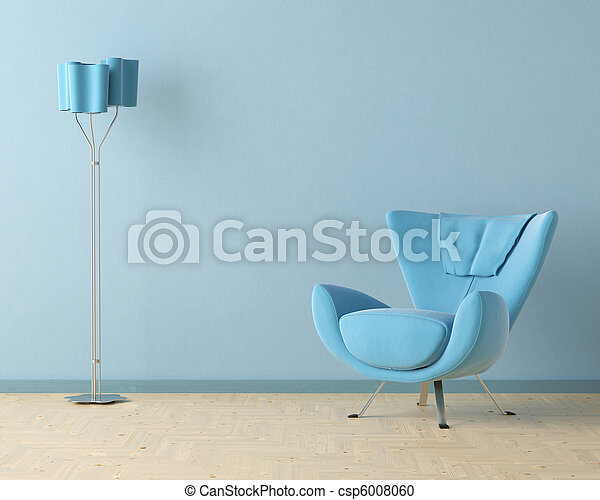 blue interior design scene - csp6008060
