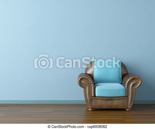 blue interior with couch - csp6008062