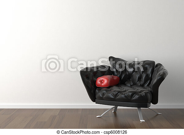 Interior design of black chair on white wall - csp6008126