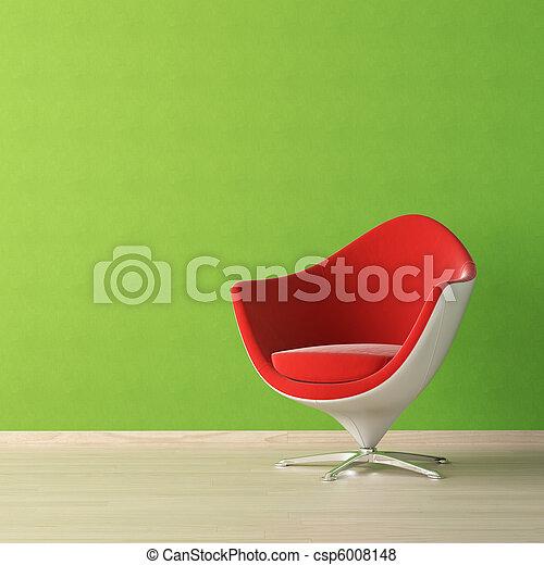 muur, Ontwerp, Interieur, groene, stoel, rood - csp6008148