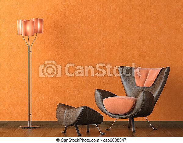 Bilder von modern, Leder, couch, auf, orange, Wand - Interios ...