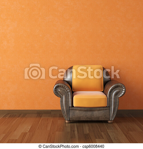 interior design orange wall and brown couch - csp6008440