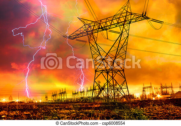 Power Distribution Station with Lightning Strike. - csp6008554