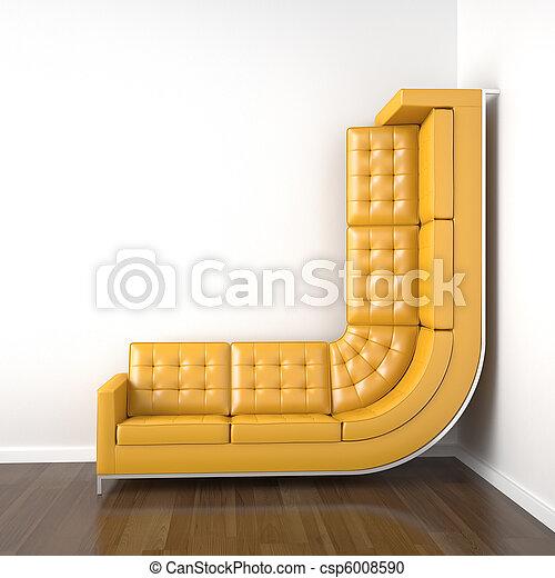 Stock Fotografie von bended, Wand, Auf, gelber, couch ...