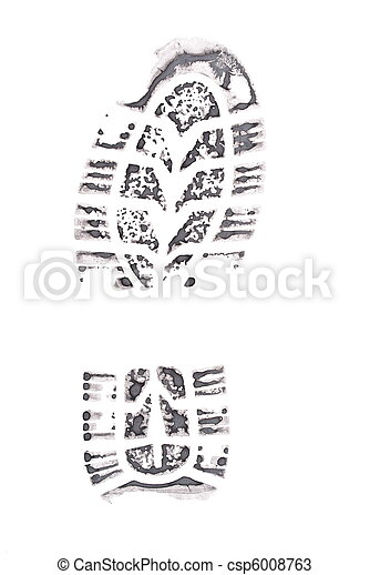 Black print of a trace of a boot  - csp6008763