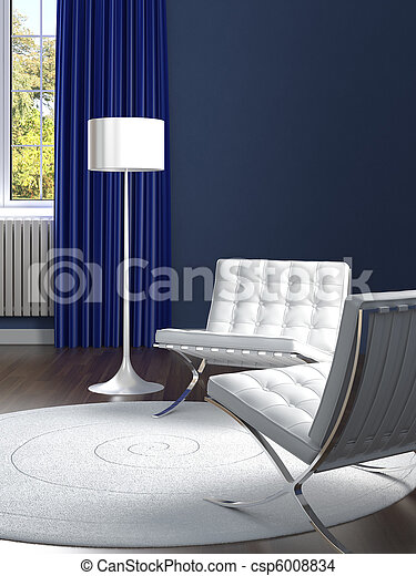 interior design classic blue room with white chairs - csp6008834