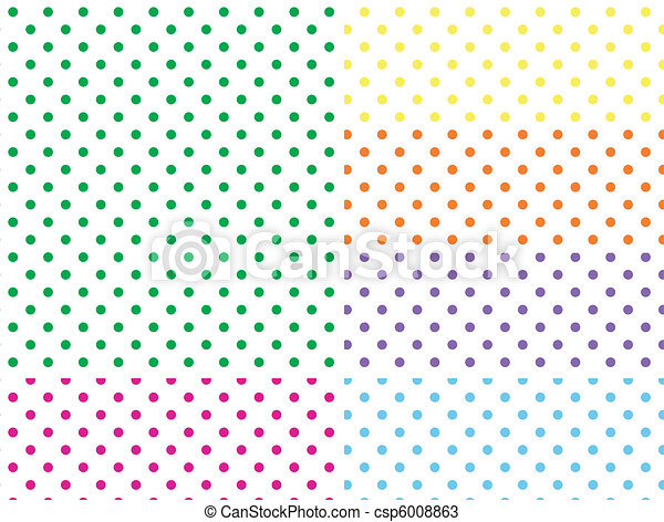 Six EPS8 White Polka Dot Background - csp6008863
