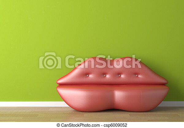 interior design lips shaped couch - csp6009052