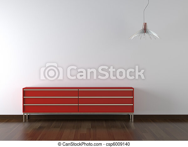 interior design red furniture on wite wall - csp6009140