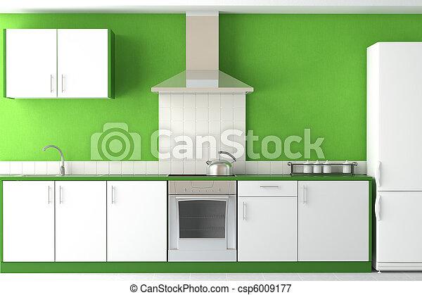 interior design of modern green kitchen - csp6009177