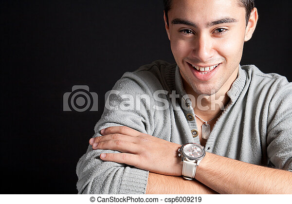 Natural smile of happy joyful man - csp6009219