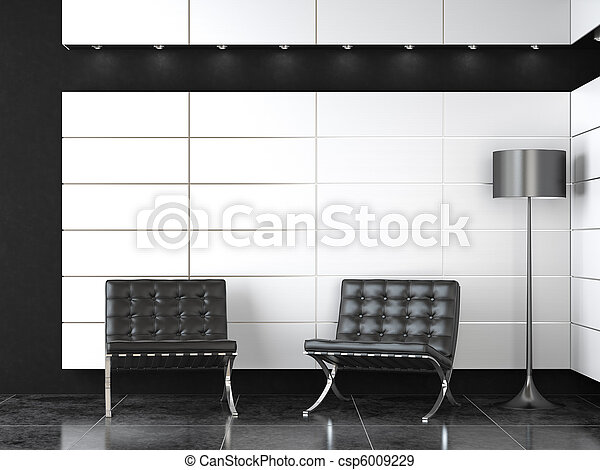 interior design of modern black and white reception - csp6009229