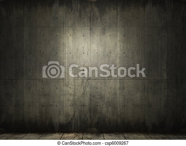 grunge background of concrete room - csp6009267