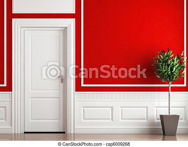interior design classic red and white - csp6009268