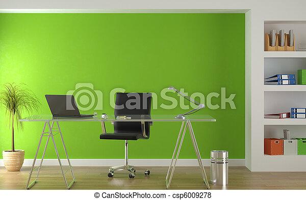 intérieur, vert, moderne, conception, bureau - csp6009278