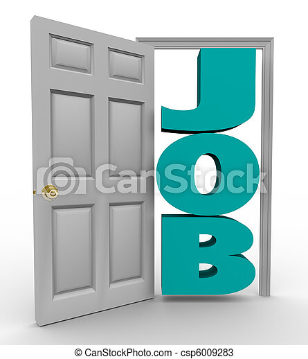 Door Opens to Word Job - Getting Hired - csp6009283