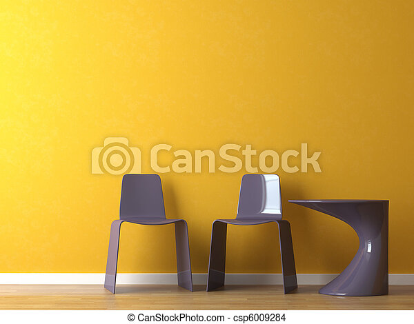 interior design modern chairs and table on orange wall - csp6009284