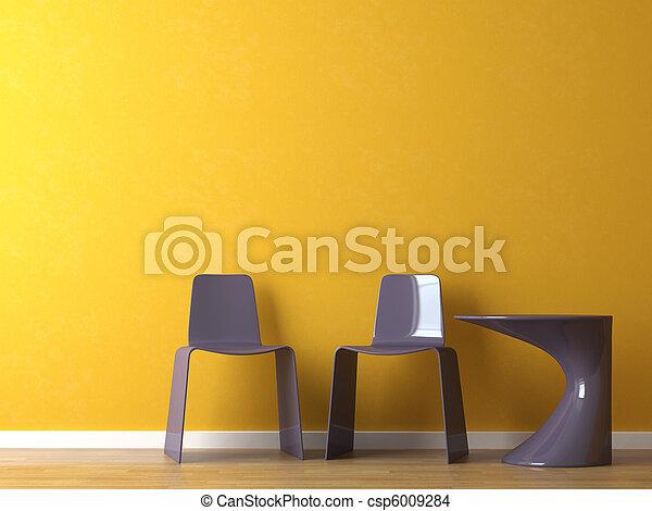 내부, 디자인, 현대, 의자, 테이블, 오렌지, 벽... csp6009284의 스톡 ...