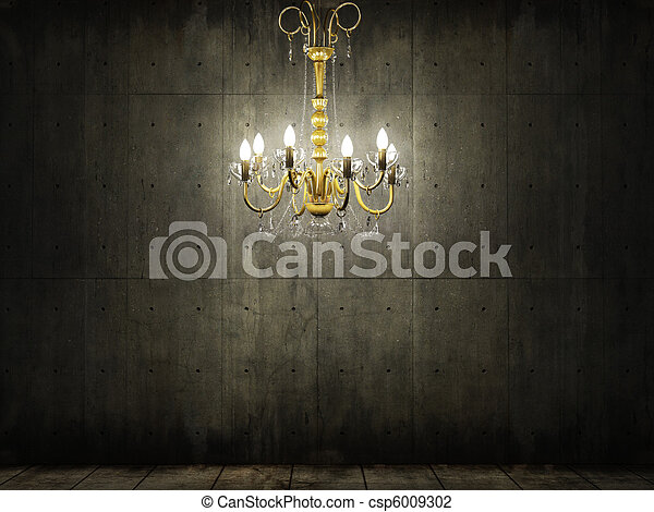 chandelier in dark grungy concrete room - csp6009302