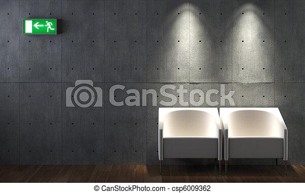 Photo de int rieur conception b ton mur chaises for Beton decoratif interieur