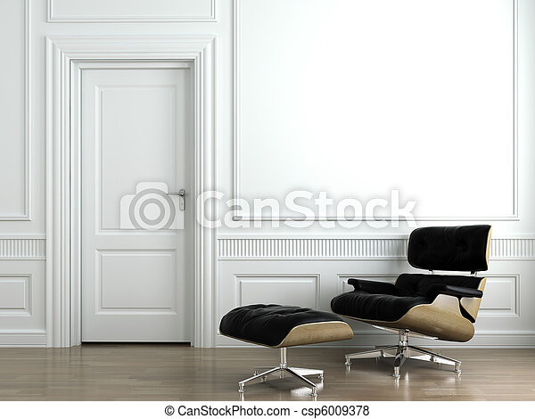 leather armchair on white interior wall - csp6009378