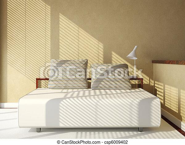 sofa-bed on tan wall - csp6009402