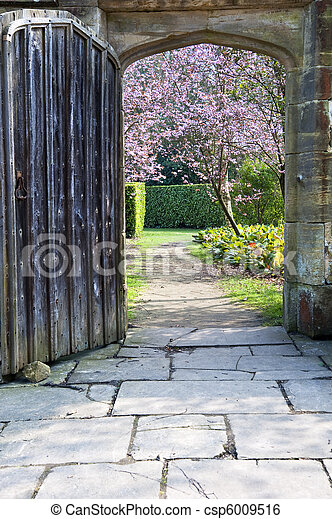 Beautiful fresh Spring blossom trees seen through old wooden door and stone archway - csp6009516