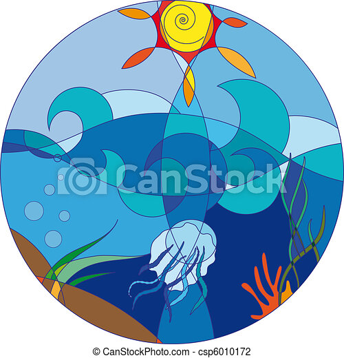 sea on a sunny day with a jellyfish and marine plants(7).jpg - csp6010172