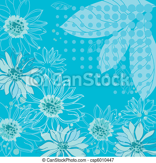 turquoise flowers background - csp6010447