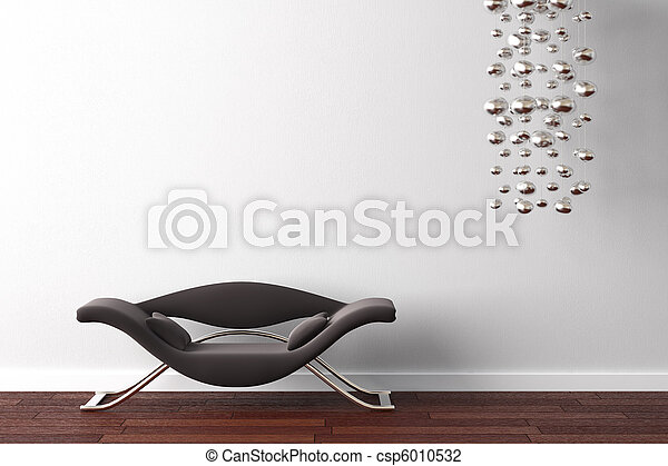 interior design armchair and lamp on white - csp6010532
