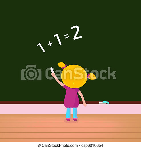 Small cute kid on math lesson in the school
